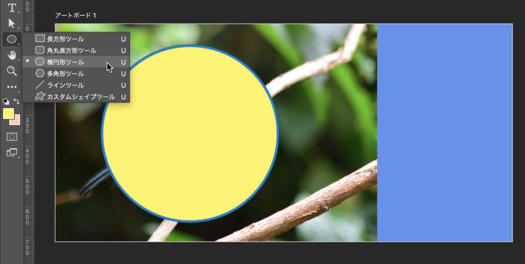 写真の上に円を描く