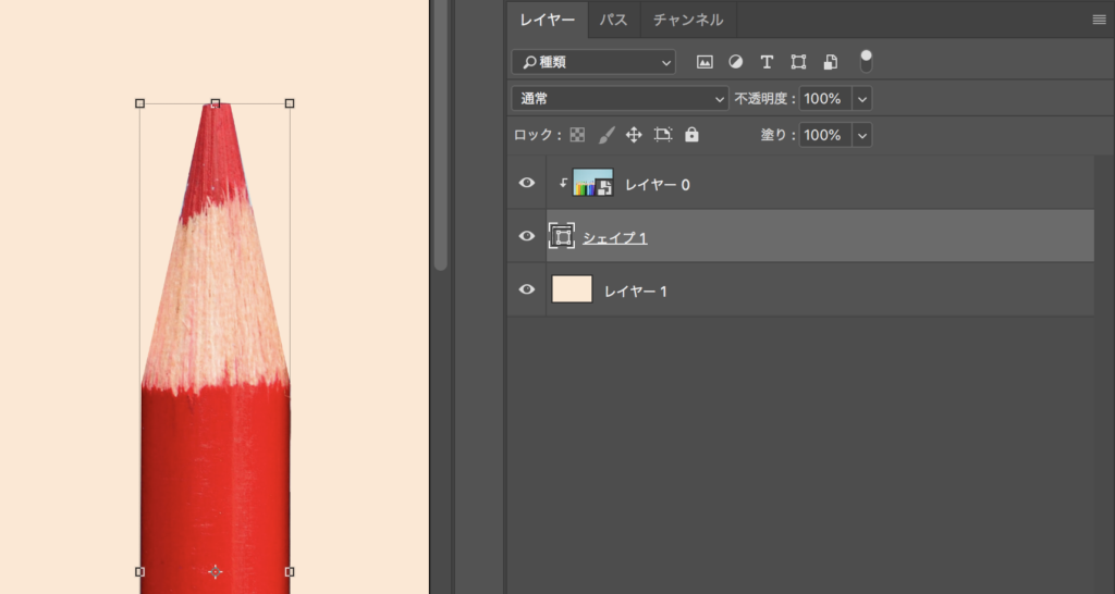 レイヤーパネルで切り抜きたい画像の下に移動して色鉛筆の形に切り抜く