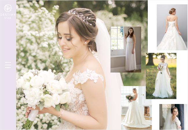 左にメニューバー、中央に花嫁の大きな写真、右に様々な花嫁の写真を配置