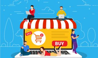 E-commerce cart concept. people using mobile gadgets such as tablet and smartphone for online purchasing and ordering goods. illustration in flat style raster version