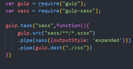 gulpfile.jsにgulpのタスクを記述