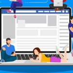 Social network web site surfing concept. people using mobile gadgets such as smartphone, tablet pc and laptop part of online community. Vector illustration in flat style