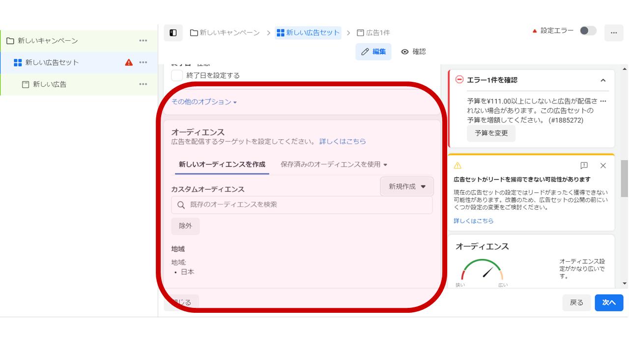 Facebookリード獲得フォーム広告事例_作業画面①